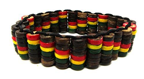 Shell Stretch Bracelet Coconut (Rasta Bracelet - Coconut Shell Wood Rasta Bracelet)