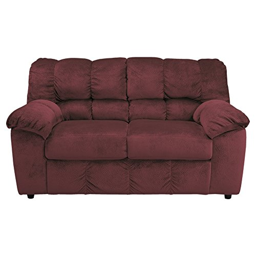 Ashley Furniture Signature Design - Julson Contemporary Loveseat - Burgundy