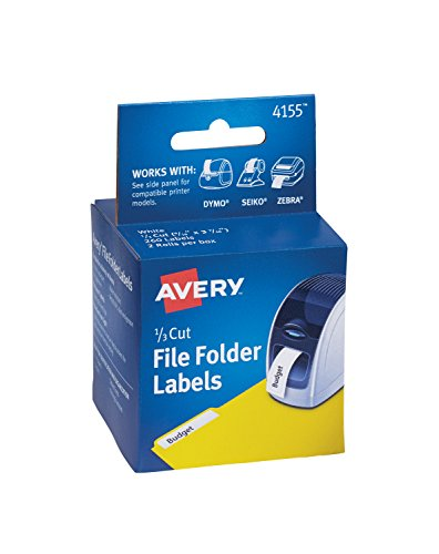 AVERY Thermal Printer File Folder Labels, 1/3 Cut, White, 130/Roll, 2 Rolls (4155) ()