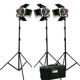 Focusable Spot and Flood Light 2400 watt lights Constant Continuous Video Studio Film 3 Barndoor kit HR-3