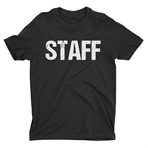 Black Staff T-Shirt Double Sided White Print Event Concert Party Festival Tee,Large