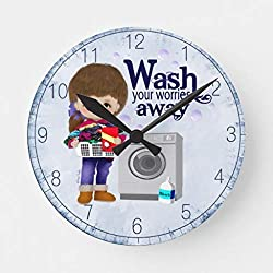 Laundry Room Wall Clock Non Ticking Silent Small Wood Clock Battery Operated 10 inches