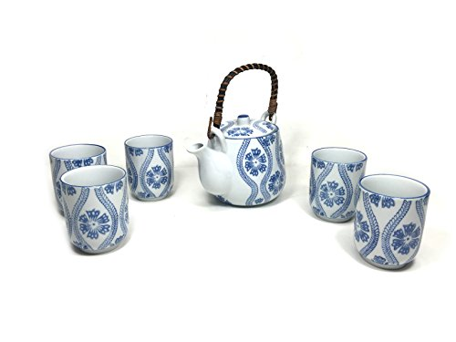 Oriental Style Asian Teapot Ceramic Tea Pot Set Blue & White (1 Teapot 5 Cups)