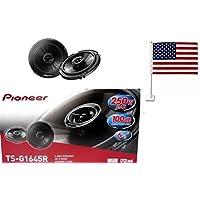 Pioneer TS-G1645R 6-1/2 2-way car speakers TSG1645R 6.5 G-Series Speaker with 250 Watts +FREE AMERICAN FLAG FOR CAR WINDOW