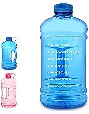GEMFUL 3 Liter Big Motivational Water Bottle 0.8 Gallon with Time Marking (Blue)