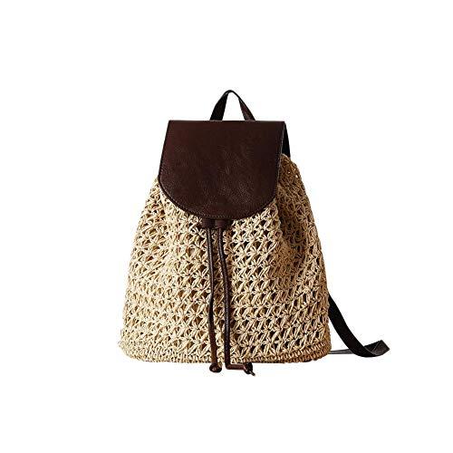 Beatie Moda Bolso De Paja Bolsos, Mujeres Verano Bolsa De Ratán Tejidas A Mano Bolso De Playa para Las Mujeres Bolsa, Funda De Piel Mochila Bolsa De Paja, Moda Vintage Boho Crochet Mujer Bolsa