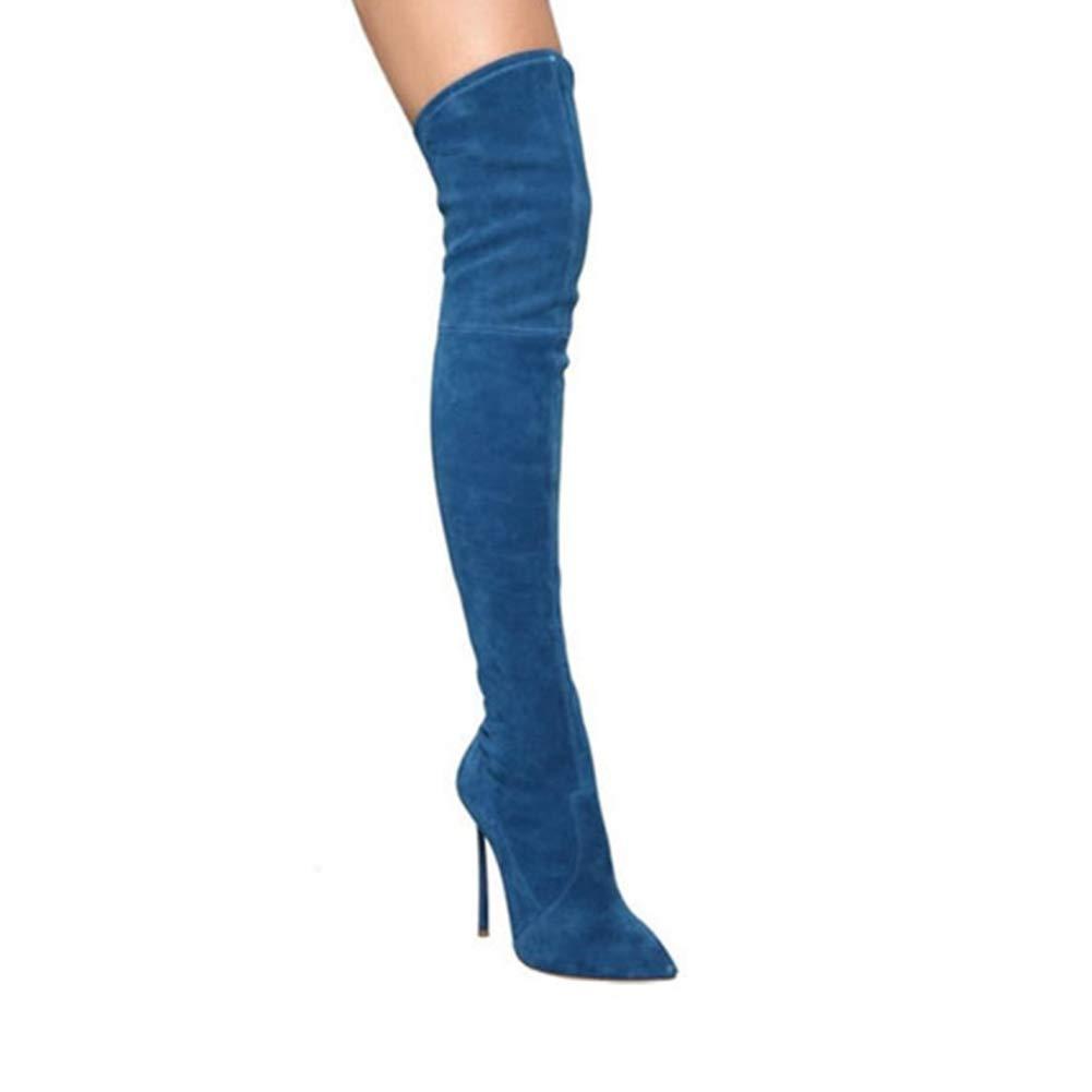 Lxxzz Frauen Spitze Schlanker Schlanker Schlanker High Heel Kniestiefel Metall HeteRosaxuell Mode Stiefel Gemütlich Schmale Passform Oberschenkelstiefel (Absatzhöhe  12Cm) WHL.LL 5c1e4e