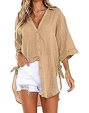QUNIMA Blouses dames zomer lange mouwen V-hals oversized blouse lange blouse effen linnen blouse losse grote maten bovendeel casual tuniek longshirt hemdblouse longblouse blouseshirt
