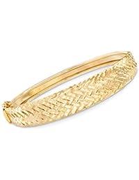 Certified Italian Diamond-Cut Chevron Bangle Bracelet in 18kt Yellow Gold