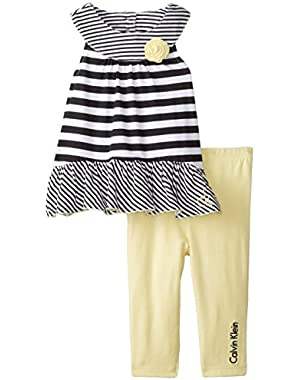 Baby Girls' Black White Stripes Top with Yellow Pants