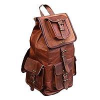 SALE! Shakun Handmade Vintage Unisex Pure Leather Backpack Canvas Rucksack Satchel Hiking Backpack Travel Outdoor Shoulder Bag Schoolbag Casual Bag FREE Shipping