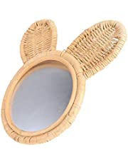 Mobestech Bathroom Mirror with Rabbit Design Hanging Makeup Mirror Rattan Wall Mirror Vanity Mirror for Home Bedroom Living Room