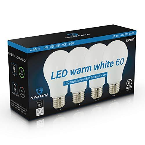 Image of Great Eagle A19 LED Light Bulb, 9W (60W Equivalent), UL