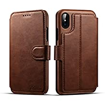 iPhone X Wallet Case,TACOO Genuine PU Leather Magnetic Closure Protective Kickstand Flip Card Slot 360 Full Protection Flip Cover for Apple iPhone 10 2017 (Brown)