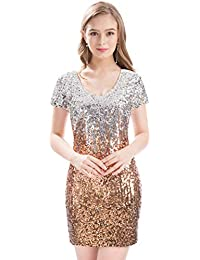 Women s Sequin Glitter Short Sleeve Dress Sexy V Neck Mini Party Club  Bodycon Dresses ace2bd3bb