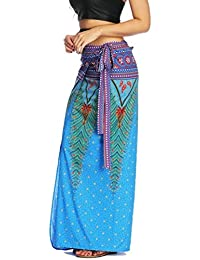 WSPLYSPJY Women Boho Floral Tie up Waist Summer Wrap Cover up Maxi Skirts
