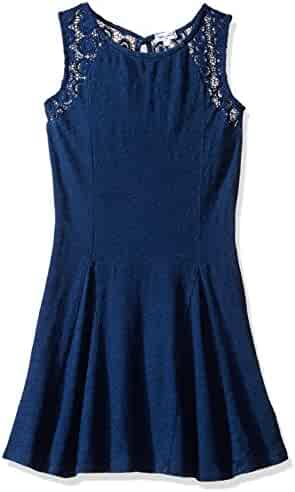 Splendid Girls' Slim Size Indigo Lace Bodice Panel Dress