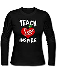 Teach Love Inspire Teacher Women Long Sleeve Round Neck Cotton T-Shirt Top Christmas Gift