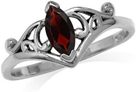 Natural Marquise Shape Garnet 925 Sterling Silver Filigree Ring