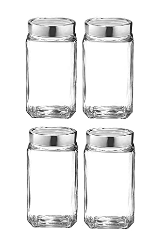 UNIVERSAL Glass Jar Kitchen Storage Container 1000 ml Jar,Glass jar Set of 4 Air Tight Silver Glass Cap,1000gm Capacity Glass jar,Food Grade Glass Made in India,Transparent, BPA,BPS, Free Non Toxic