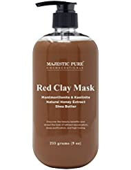 Majestic Pure Red Clay Mask in Cole Flower Honey, Powerful Facial Cleanser Mask, 9 oz