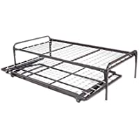 Dream Solutions Dark Metal Day Bed Frame Trundle Included, Black