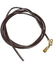 unbespielt - Collar de piel para colgante, color marrón oscuro para hombres y mujeres, cierre de langosta chapado en oro, 1 m x 2 mm, acortable