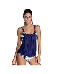 Filfeel Traje de baño de Dos Piezas, Traje de baño a Rayas para Mujer(XL-Azul Marino)