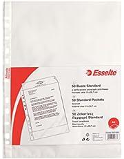 Esselte Buste a perforazione Copy Safe Standard, Trasparente, Formato A4, Porta documenti, In PP antiriflesso, Confezione da 50 buste, 395013300