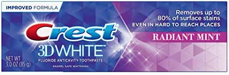 Crest Toothpaste 3 Ounce 3D White Radiant Mint (Pack of 2)