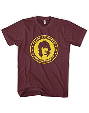 Keith Richards For President The Rolling Stones Unisex T-Shirt All Sizes Colours (L, Burgundy)