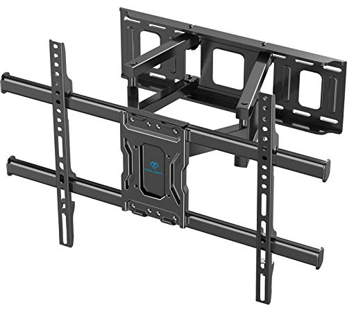 TV Wall Mount Full Motion Bracket for Most 37-75 Inch LED LCD OLED 4K Flat Curved TV Swivel Dual Articulating Arms Extension Rotation Tilt Max VESA 600×400 Supports TV up to 132lbs, PSLF7
