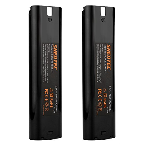 Shentec 2Pcs 3000mAh 9.6V Replacement Battery Compatible with Makita 9000 9001 9002 9033 9600 193890-9 192696-2 632007-4, Ni-MH Battery Pack