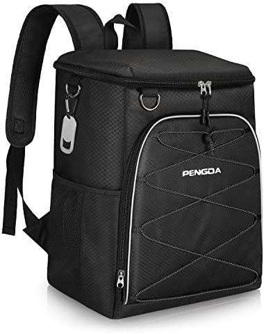 PENGDA Insulated Cooler Backpack Leakproof Soft Cooler Bag Lightweight Backpack for Lunch Picnic Hiking Camping Beach Park Day Trips 25Can, Black