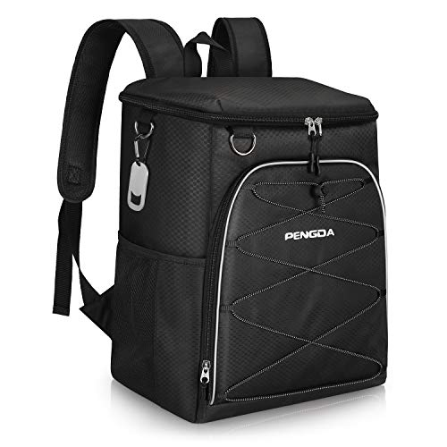 PENGDA Insulated Cooler Backpack Leakproof Soft Cooler Bag Lightweight Backpack for Lunch Picnic Hiking Camping Beach Park Day Trips (25Can, Black)