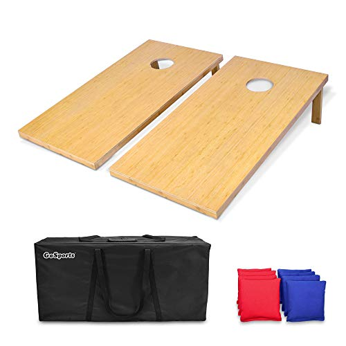 GoSports Bamboo 4 x 2 Bamboo Cornhole Set with 8 Bean Bags & Carrying Case - Premium All Weather Design, Wood, Regulation