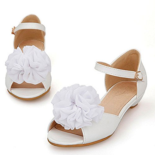 Flower Women Summer Shoes Sandals Flats LongFengMa Cute Fashion White 4EqxpU