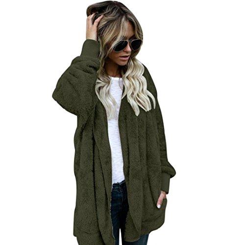 Hooded Long Jacket (XUANOU Furry Hoodies Parka Cardigan Coat Women Hooded Long Jacket Outwear (M, Army Green))