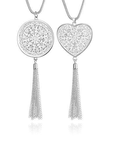 - FUNRUN JEWELRY 2PCS Long Pendant Necklaces for Woman Heart Disk Circle Tassel Y Necklaces Set (Silver Tone)