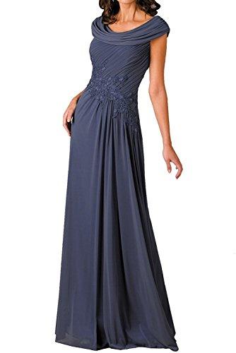 Dunkel Braut Lila Damen Promkleider langes Chiffon Marie Grau Abschlussballkleider Abendkleider La Brautmutterkleider 1qwCvR5