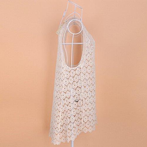 hibote Mujer de encaje de ganchillo mini vestido encubrir bralet chaleco de la tapa Beige