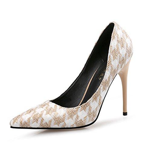 FLYRCX Europäische Artgeldstrafe mit den einzelnen Schuhen der Mode zeigte spitzenhohe Fersearbeitsschuhe des Temperaments B07JZCK1X8 Tanzschuhe Sofortige Lieferung