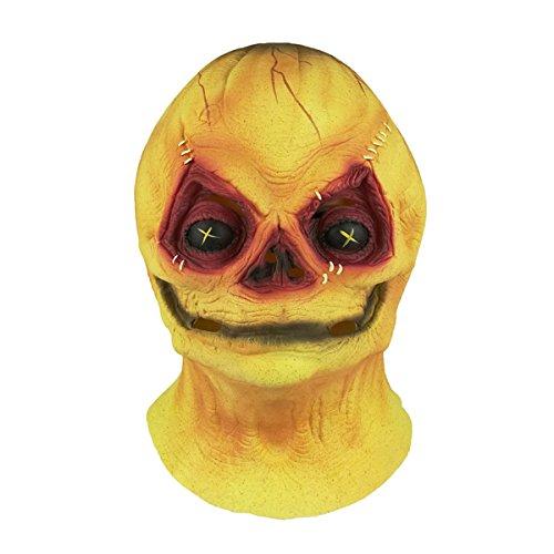 Trippy Lights Trick R Treat Sam The Demon Pumpkinhead Halloween Costume Adult Mask ()