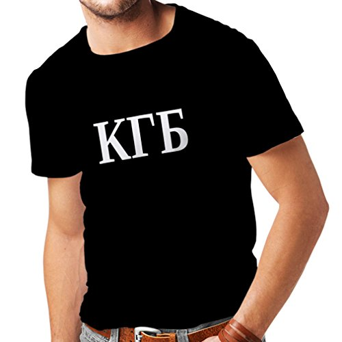 T Shirts For Men Political - KGB, CCCP Russland, Russian, Ruskiy (X-Large Black White)