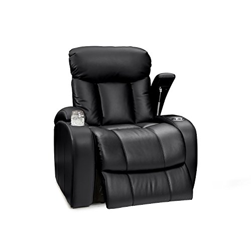 Seatcraft Sausalito Leather Gel Manual Home Theater Recliner with in-Arm Storage, Black ()