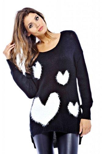 AX Paris Women's Knitted Multi Heart Sweater(Black, Size:S/M) ()
