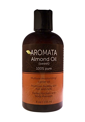 100%-Pure Sweet Almond oil by AROMATA--Enjoy the moisturizing, nourishing, revitalizing, therapeutic health benefits of this premium quality, undiluted, therapeutic grade sweet Carrier almond oil