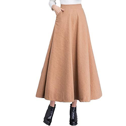 Jupe Longue en Laine Jupe Haute A Taille Patineuse lastique Plisse Ligne Yellow Femmes Taille 4xRFP