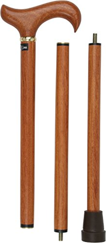 - Rosewood 3 Piece Folding Derby Walking Cane With Rosewood Shaft and Brass Collar