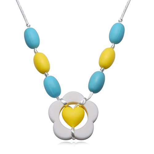Aokarry Silicone Baby Teething Necklace for Mom Flower Shape Embedded Love Color Chain Length: 80CM